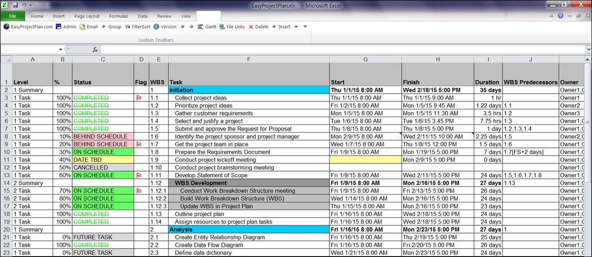 EasyProjectPlan SCREENSHOTS – Free Project Management Calendar Template